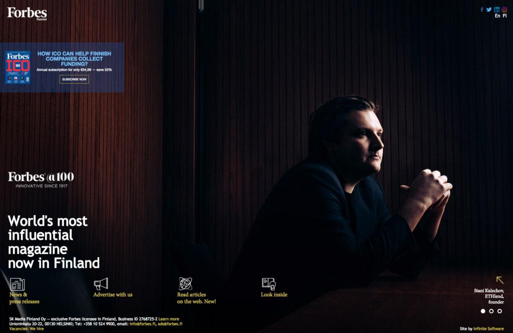 Gründer von ETHlend auf Website Forbes Estland