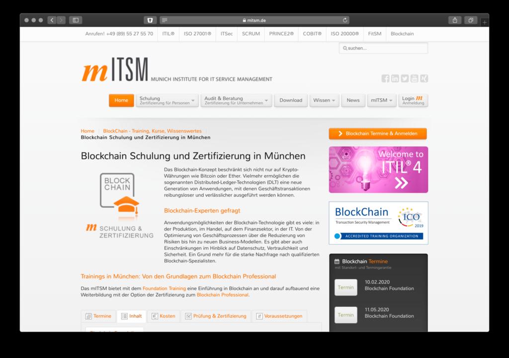 Screenshot Blockchain-Schulungsseite des mITSM