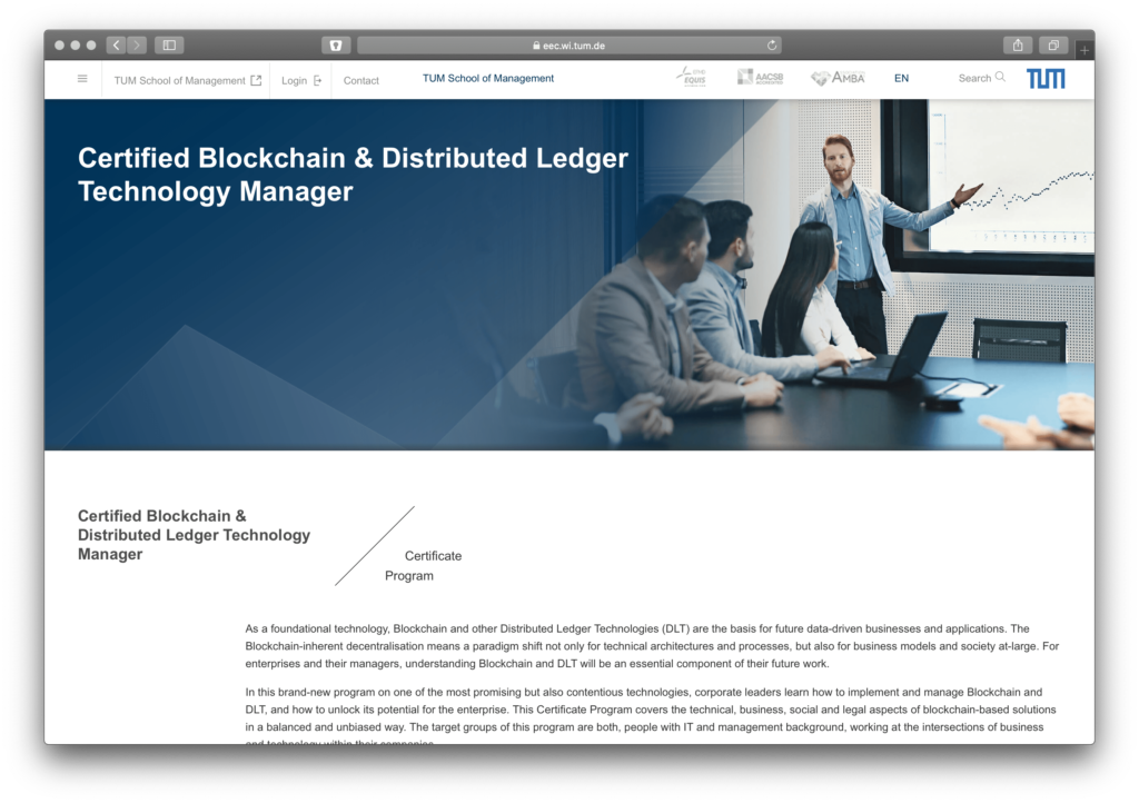 Screenshot Blockchain Training an der TUM