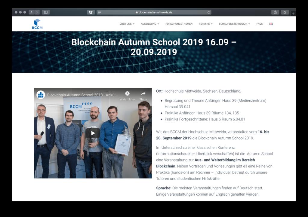Screenshot Blockchain Training der Blockchain Autumn School an der Hochschule Mittweida