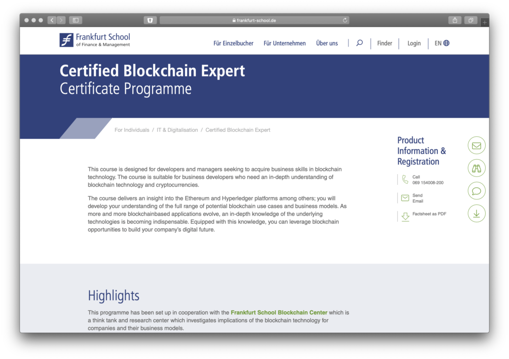 Screenshot Blockchain Experten Kurs der Frankfurt School