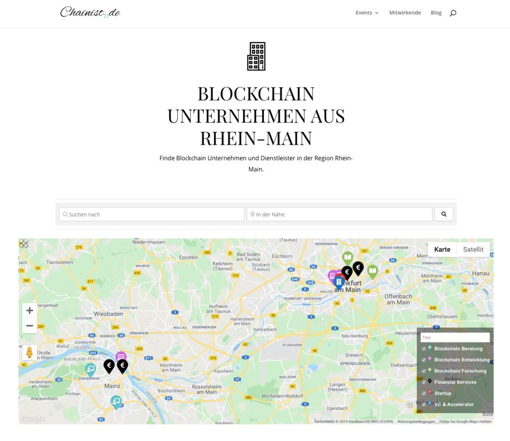 Screenshot Online Verzeichnis Blockchain Unternehmen in Rhein-Main