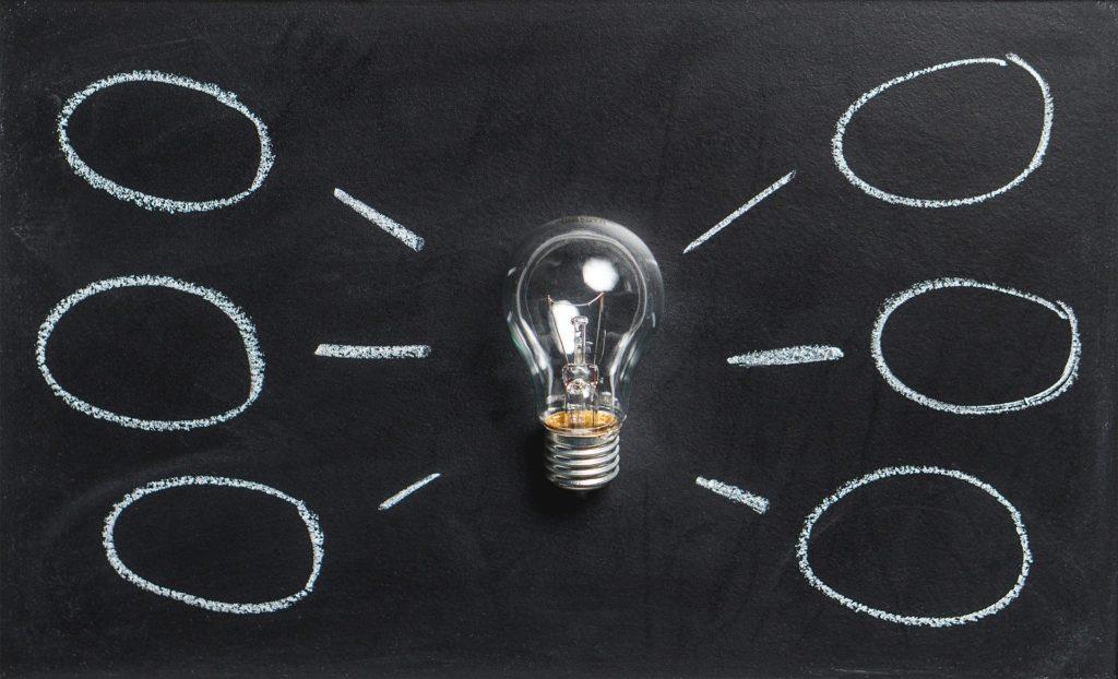 Idee und Glühbirne