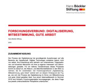 Screenshot Webseite Forschungsverbunds Digitalisierung, Mitbestimmung, gute Arbeit