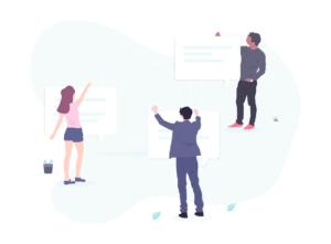 Grafik Personen Brainstorming und Austausch